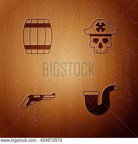 Set Smoking Pipe, Wooden Barrel, Vintage Pistol And Pirate Captain On Wooden Background. Vector