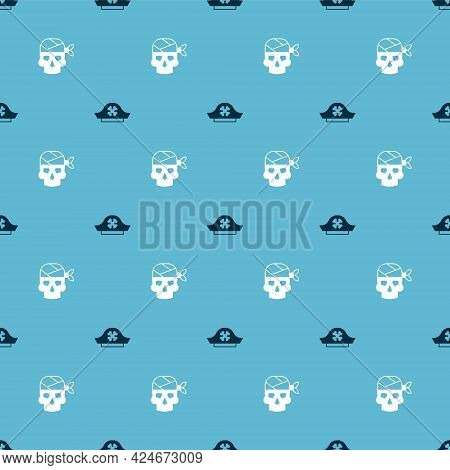 Set Pirate Hat And Captain On Seamless Pattern. Vector