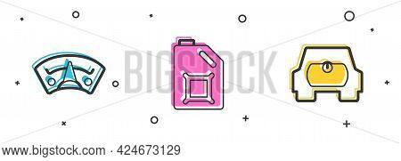 Set Motor Gas Gauge, Canister For Motor Oil And Gas Tank Vehicle Icon. Vector