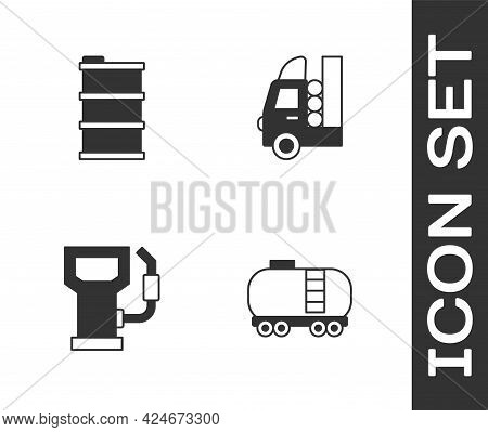Set Oil Railway Cistern, Barrel Oil, Petrol Or Gas Station And Gas Tank For Vehicle Icon. Vector