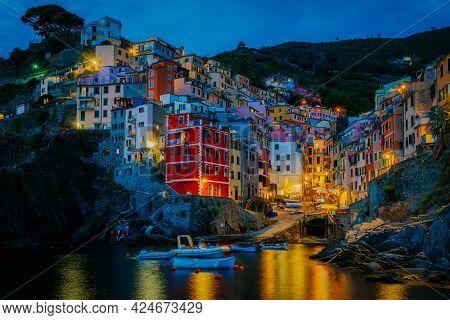 Riomaggiore Cinque Terre Wonderful View Of Liguria, Italy, Europe. Seascape Of The Mediterranean Sea