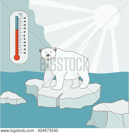A Polar Bear Stands On An Ice Floe In The Arctic. Global Warming And Climate Change Concept. The Tem
