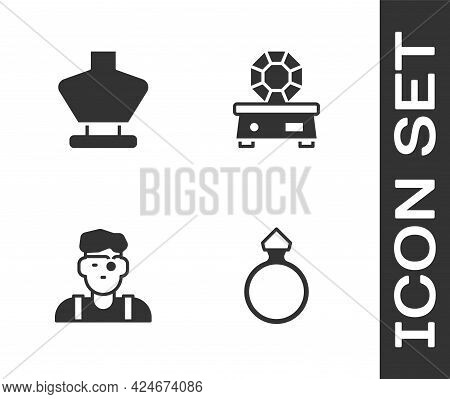 Set Diamond Engagement Ring, Necklace Mannequin, Jeweler And Gem Stone Icon. Vector
