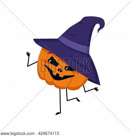 Cute Pumpkin Character In Pointed Hat With Emotions Dancing, Smile Face, Arms And Legs. The Funny, H
