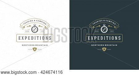 Compass Logo Emblem Vector Illustration Outdoor Expedition Adventure For Shirt Or Print Stamp