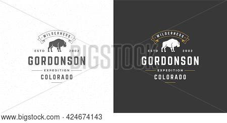 Bison Logo Emblem Vector Illustration Silhouette For Shirt Or Print Stamp