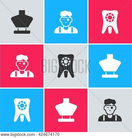 Set Necklace On Mannequin, Jeweler And Tooth With Diamond Icon. Vector