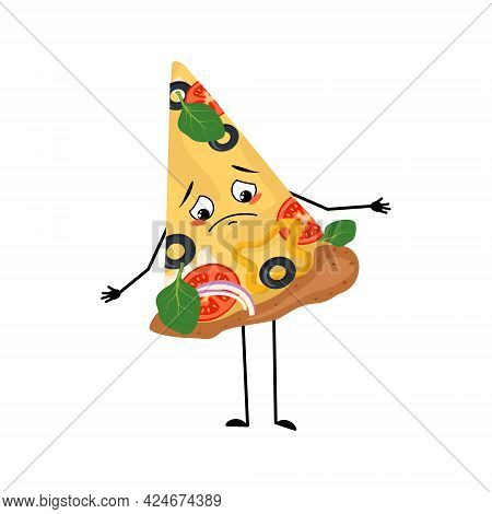 Cute Pizza Character With Sad Emotions, Downcast Eyes, Depressing Face, Arms And Legs. The Melanchol