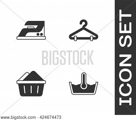 Set Temperature Wash, Electric Iron, Basin With Soap Suds And Hanger Wardrobe Icon. Vector