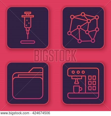 Set Line Syringe, Document Folder, Neural Network And Coffee Machine. Blue Square Button. Vector