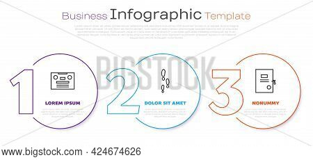 Set Line Retro Audio Cassette Tape, Footsteps And Lawsuit Paper. Business Infographic Template. Vect