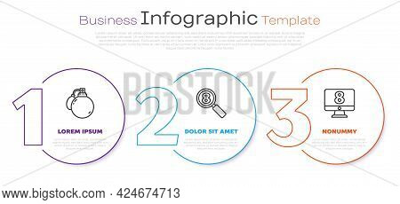 Set Line Perfume, Search 8 March And 8 March On Monitore. Business Infographic Template. Vector