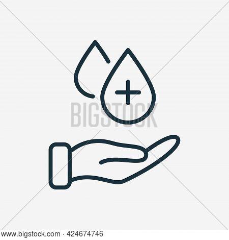 Human Hand With Sanitizer Liquid Drop. Hygiene Procedure Line Icon. Hand Washing. Drop Of Sanitizer