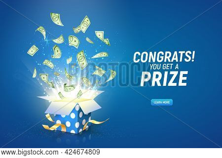 Win Prize. Online Casino Gambling Game Vector Illustration Advertising. Open Textured Gift Box With