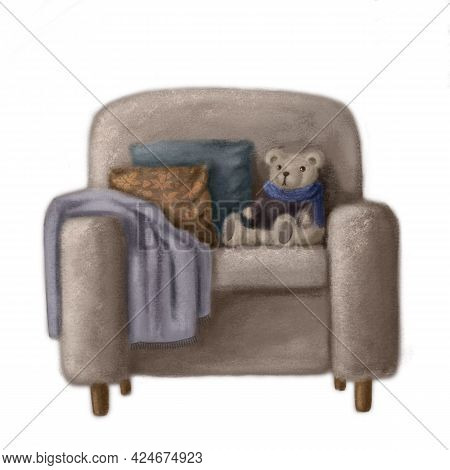 Cozy Armchair With Pillows And Plush Bear, Hand Drawn Illustration, Watercolor Clipart Good For Prin