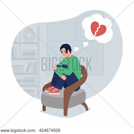 Depressed Lonely Boy Thinking Of Heartbreak 2d Vector Isolated Illustration. Teen Depressed Sitting