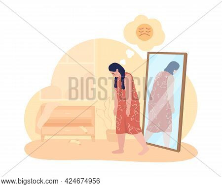 Overweight Sad Teenage Girl 2d Vector Isolated Illustration. Obesity Issue. Negative Thoughts. Upset