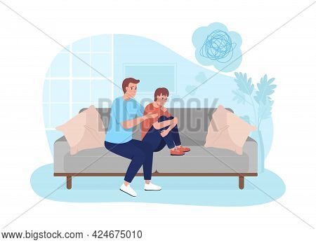 Parent Support Teen Son 2d Vector Isolated Illustration. Father Counseling Kid. Upset Boy With Stres