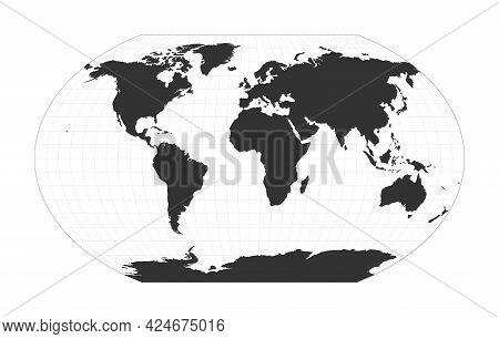 Map Of The World. Kavrayskiy Vii Pseudocylindrical Projection. Globe With Latitude And Longitude Net