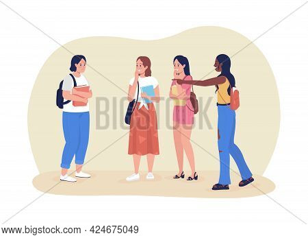 Classmates Bullies 2d Vector Isolated Illustration. Peer Pressure And Bullying In High School. Teens