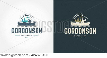 Rafting Logo Emblem Vector Illustration Outdoor Adventure Expedition Boat And Man Silhouettes