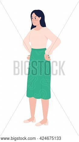 Upset Irritated Woman Semi Flat Color Vector Character. Standing Figure. Full Body Person On White.