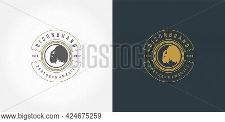 Bison Head Logo Emblem Vector Illustration Silhouette For Shirt Or Print Stamp