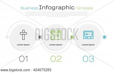 Set Line Christian Cross, Calendar Death And Beat Dead In Monitor. Business Infographic Template. Ve