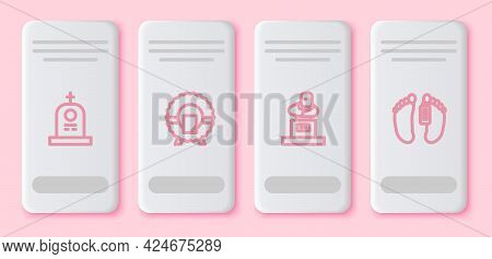 Set Line Grave With Tombstone, Memorial Wreath, And Dead Body. White Rectangle Button. Vector