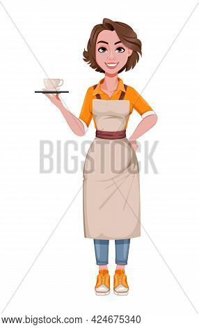 Female Barista Serving Coffee. Coffee Business Concept. Cheerful Barista Cartoon Character. Stock Ve