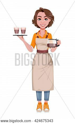 Female Barista Serving Coffee. Coffee Business Concept. Beautiful Woman Barista Cartoon Character. S