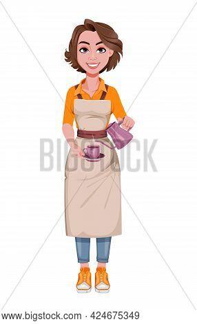 Female Barista Preparing Coffee. Coffee Business Concept. Beautiful Woman Barista Cartoon Character.
