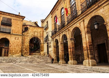 Renaissance Square In Alcaraz Called Plaza Mayor. Castile-la Mancha, Spain.