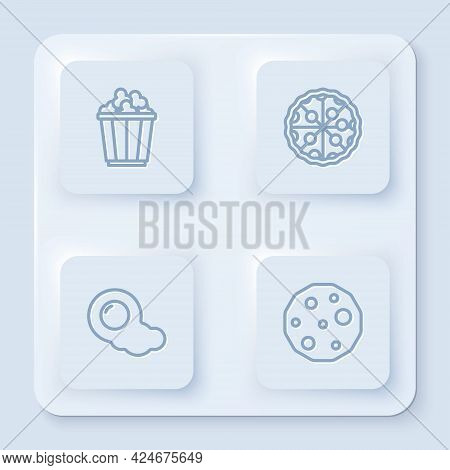 Set Line Popcorn In Box, Pizza, Scrambled Eggs And Cookie Biscuit. White Square Button. Vector
