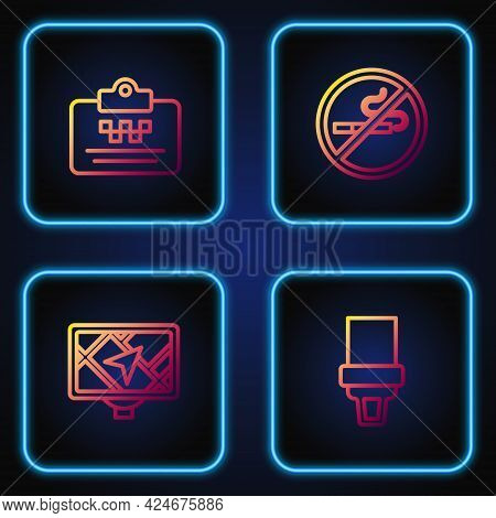 Set Line Safety Belt, Gps Device With Map, Taxi Driver License And No Smoking. Gradient Color Icons.