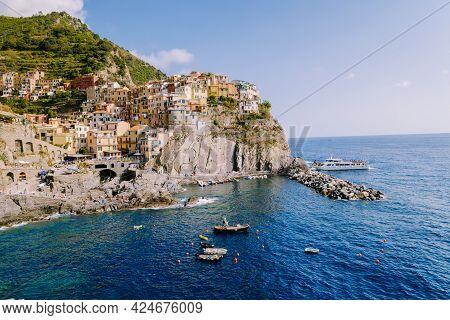 Manarola Village, Cinque Terre Park Italy During A Summer Day, Vacation Italy Colorful Coast Manarol