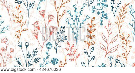 Field Flower Sprigs Natural Vector Seamless Background. Rustic Herbal Textile Print. Wild Plants Lea