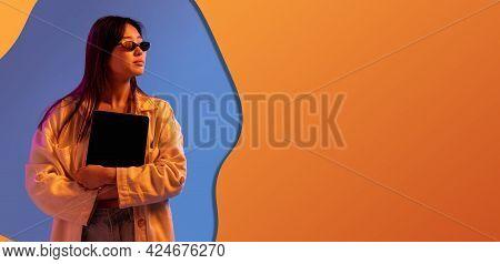 Contemporary Art Collage, Modern Design. Retro Style. Woman On Colored Studio Background In Magazine