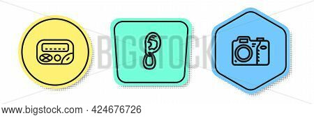 Set Line Pager, Ear With Earring And Photo Camera. Colored Shapes. Vector