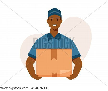 Afro American Black Delivery Man With Box. Courier With A Box In His Hands.vector Flat Cartoon Illus