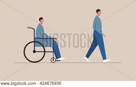 Disabled Man Before And After Recovery. Male Character Sitting In A Wheelchair And Walking From Whee
