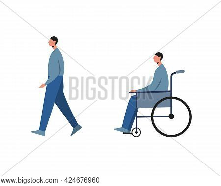 Disabled Man Before And After Recovery Isolated On White Background.vector Illustration