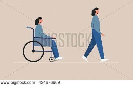 Disabled Woman Before And After Recovery. Female Character Sitting In A Wheelchair And Walking From