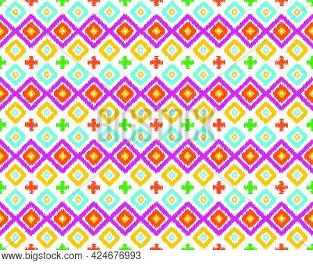 Beautiful Ikat Ethnic Seamless Pattern Elements Collection. Can Use Beautiful Seamless Ethnic Patter