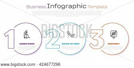 Set Line Grandmother, Prosthesis Leg And Blindness. Business Infographic Template. Vector