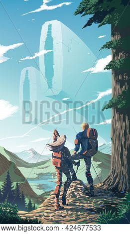 Science Fiction Vector Illustration Of A Couple Is Trekking To The Peak Of The Cliff With The Backgr