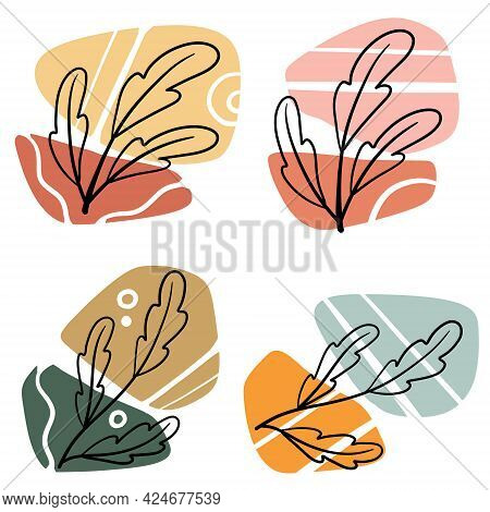 Plant On Background Of Colored Spots. Black Botanical Oak Branch And Geometric Abstract Pattern In A