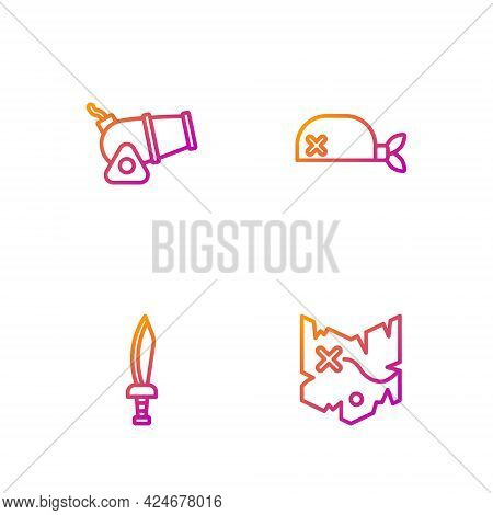 Set Line Pirate Treasure Map, Sword, Cannon And Bandana For Head. Gradient Color Icons. Vector
