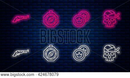 Set Line Compass, Pirate Coin, Vintage Pistol And Captain. Glowing Neon Icon On Brick Wall. Vector