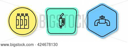 Set Line Industrial Gas Cylinder Tank, Gasoline Pump Nozzle And Metallic Pipes And Valve. Colored Sh